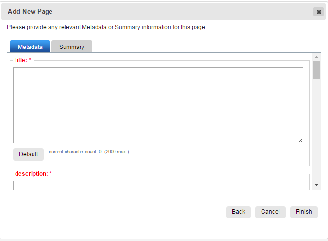 Metadata fields for new pages