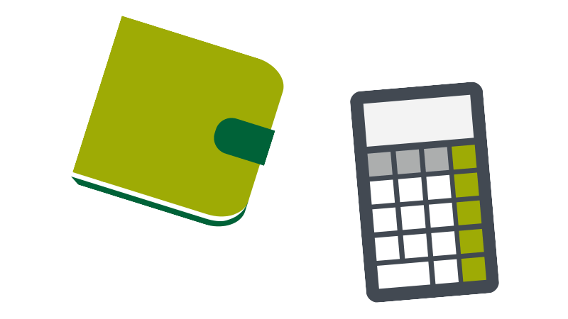 Spending money at university - wallet and calculator illustrations