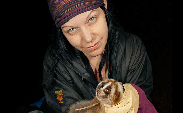 Professor Anna Nekaris with a slow loris (photo © Michael Williams)