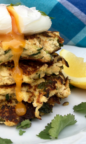 Courgette Fritters with Poached Egg