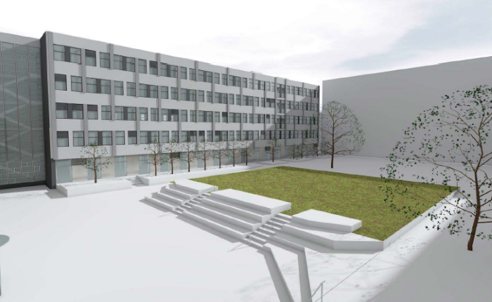 Sinclair view from central courtyard cgi