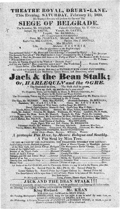 19 February 1820 - Siege of Belgrade - Vestris performance with Clare song - Playbill Drury Lane
