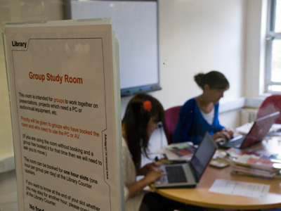 students using a group study room