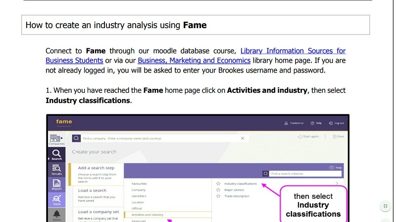 How to create an industry analysis using Fame