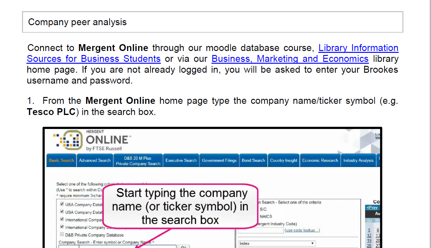 How to create a company peer analysis using Mergent Online