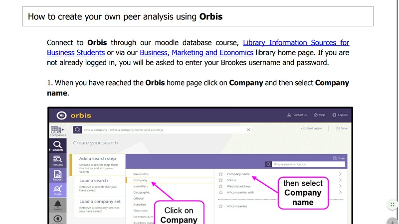 How to create your own peer analysis using Orbis