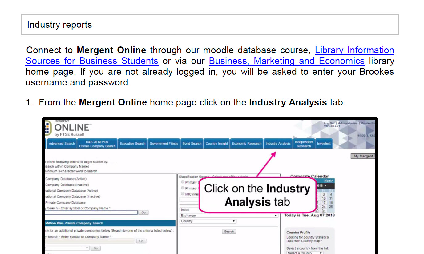How to access industry reports using Mergent Online