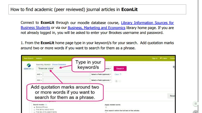 How to find academic journal (peer reviewed) articles in EconLit