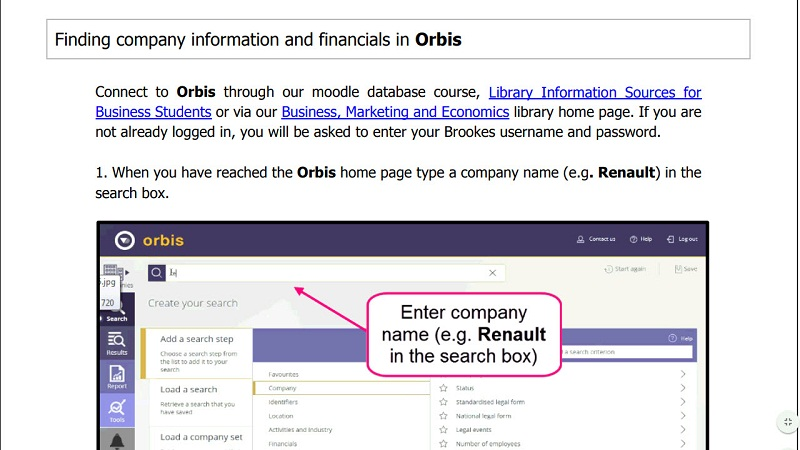 Finding company information and financials in Orbis