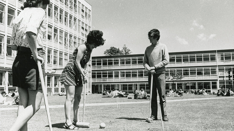 1970s image of students playing croquet