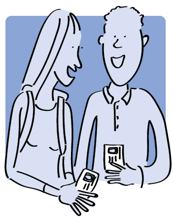 decorative cartoon of students with library cards