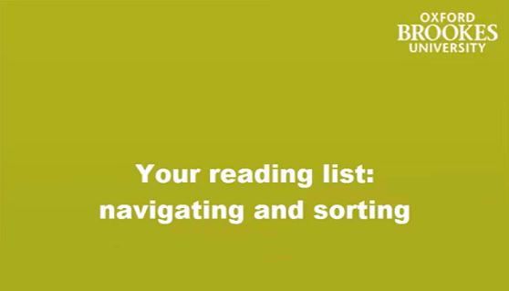Your reading list - navigating and sorting image