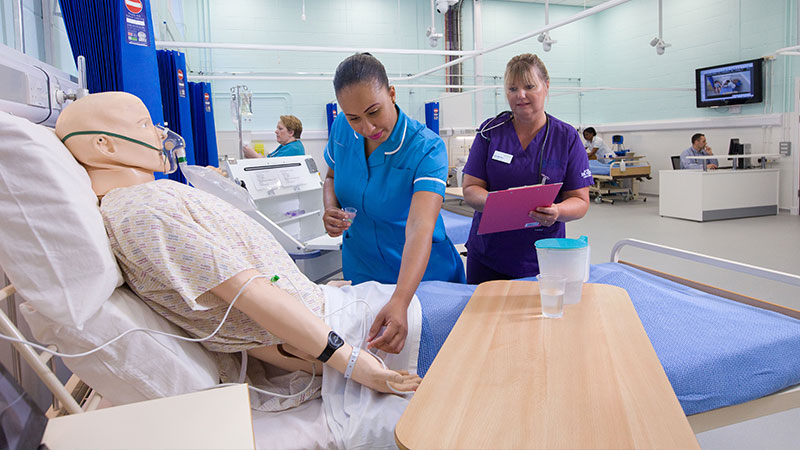 Student nurse in simulation ward