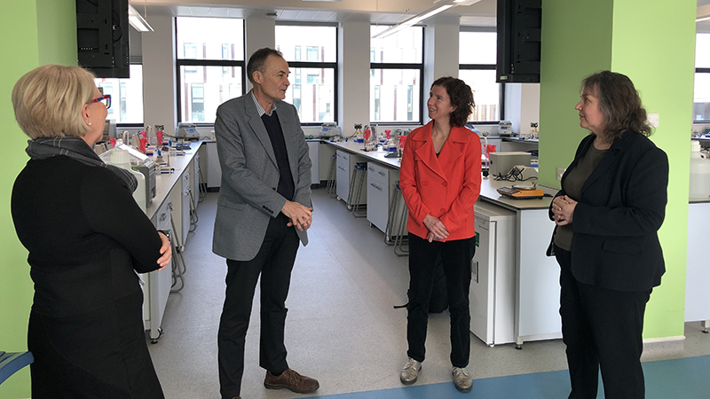 Anneliese Dodds MP on a tour of the redeveloped Sinclair building labs