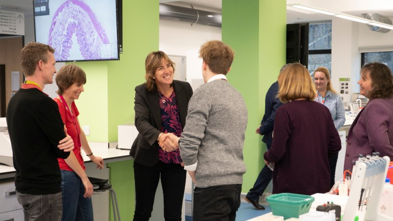 Chancellor Dame Katherine Grainger PhD explores innovative research on visit to Oxford Brookes University