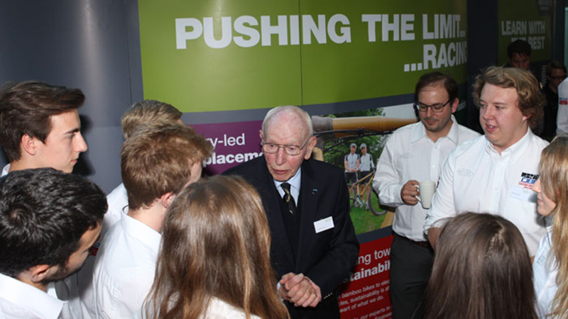 John Surtees CBE speaking with Oxford Brookes students
