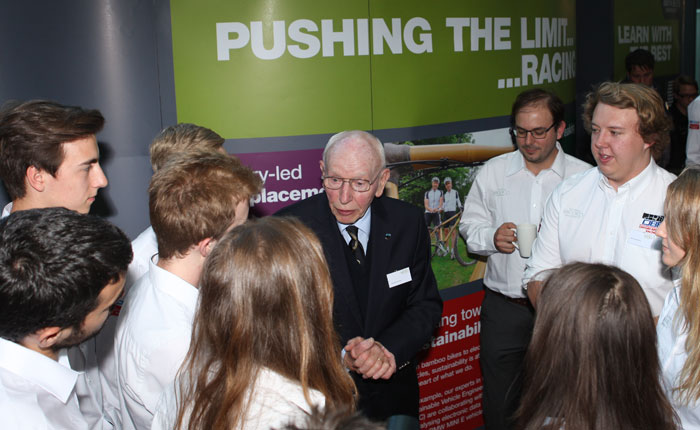 John Surtees talking to Brookes students