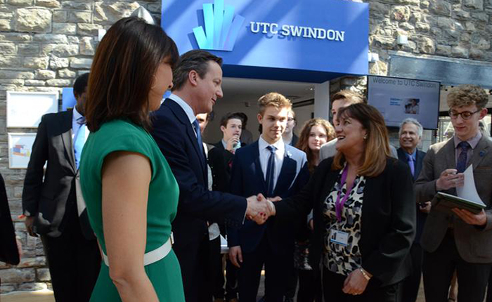 Prime Minister David Cameron visiting UTC Swindon last month