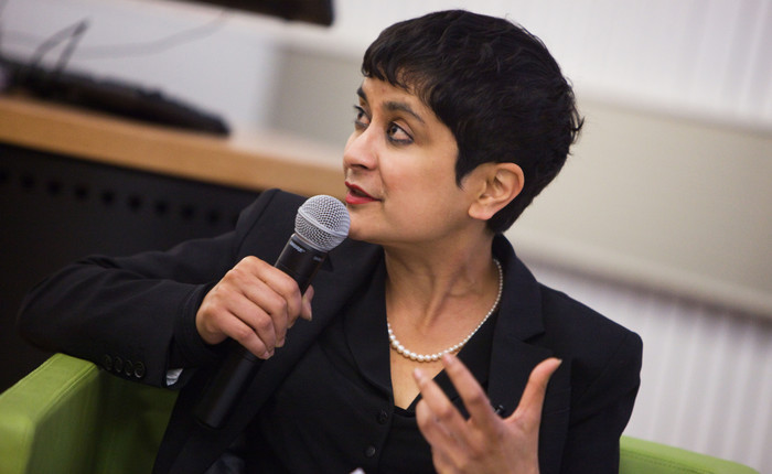 Shami Chakrabarti speaking with microphone